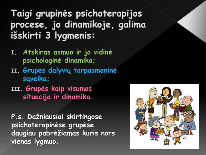 Taigi grupinės psichoterapijos procese, jo dinamikoje, galima išskirti 3 lygmenis: