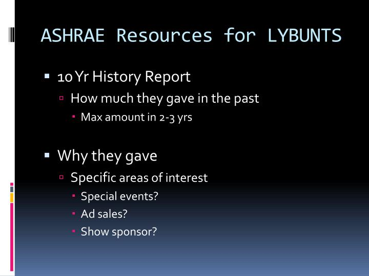 ASHRAE Resources for LYBUNTS
