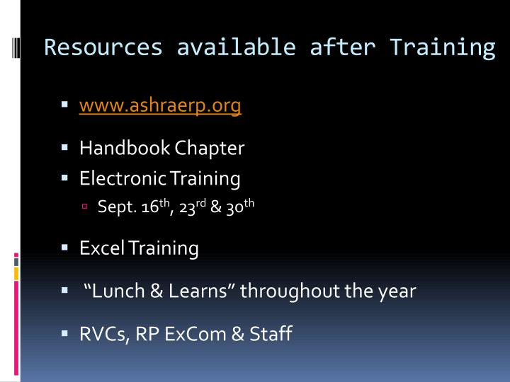 Resources available after Training