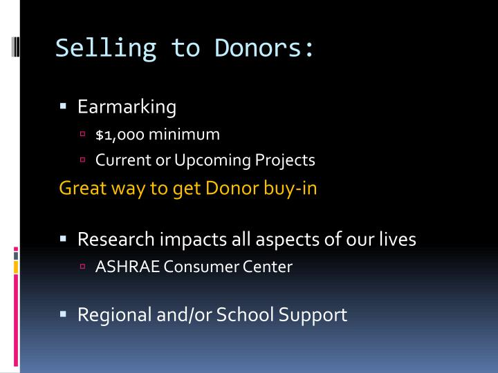 Selling to Donors:
