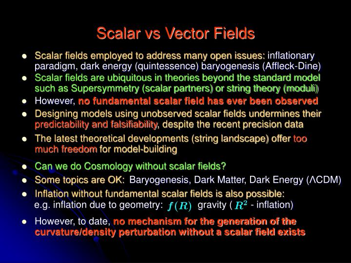 Scalar vs vector fields