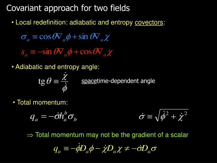 Covariant approach for two fields