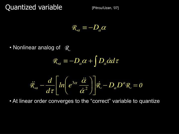 Quantized variable