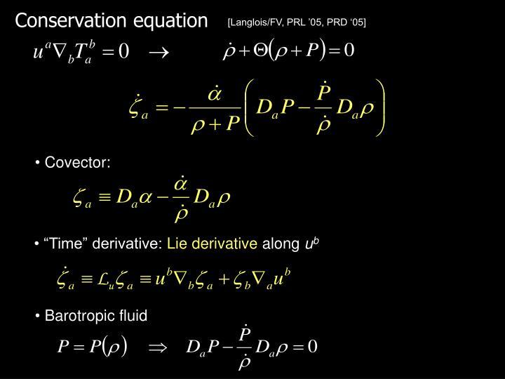 Conservation equation