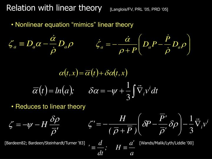Relation with linear theory