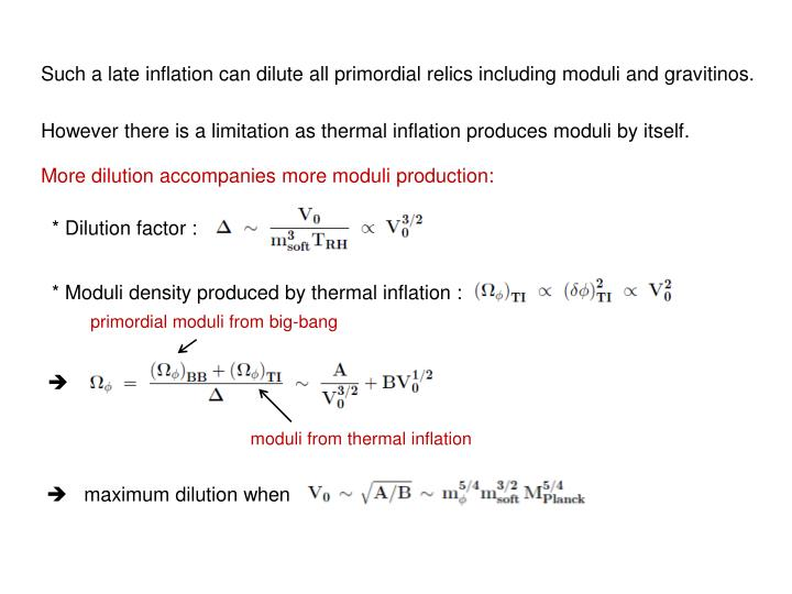 Such a late inflation can dilute all primordial relics including moduli and gravitinos.