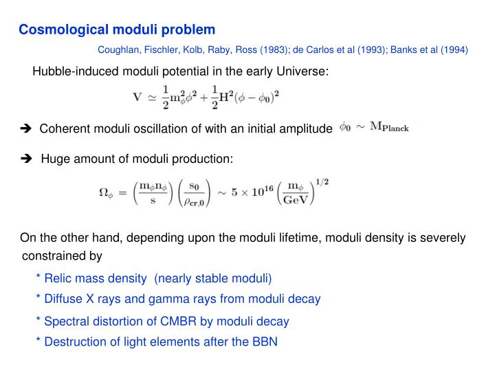 Cosmological moduli problem