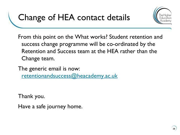 Change of HEA contact details