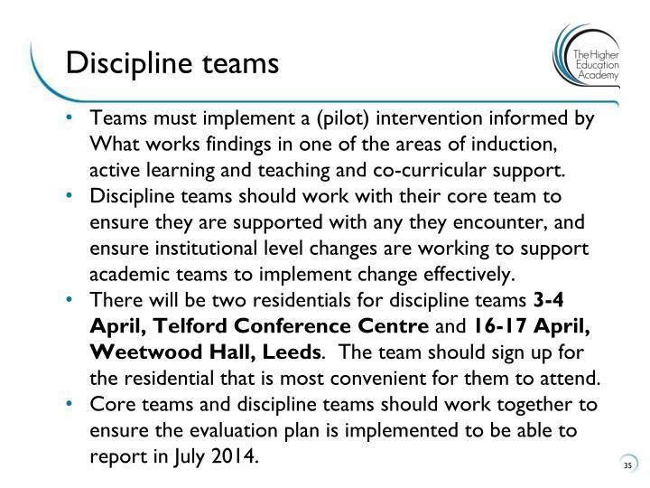Discipline teams