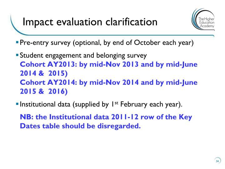 Impact evaluation clarification