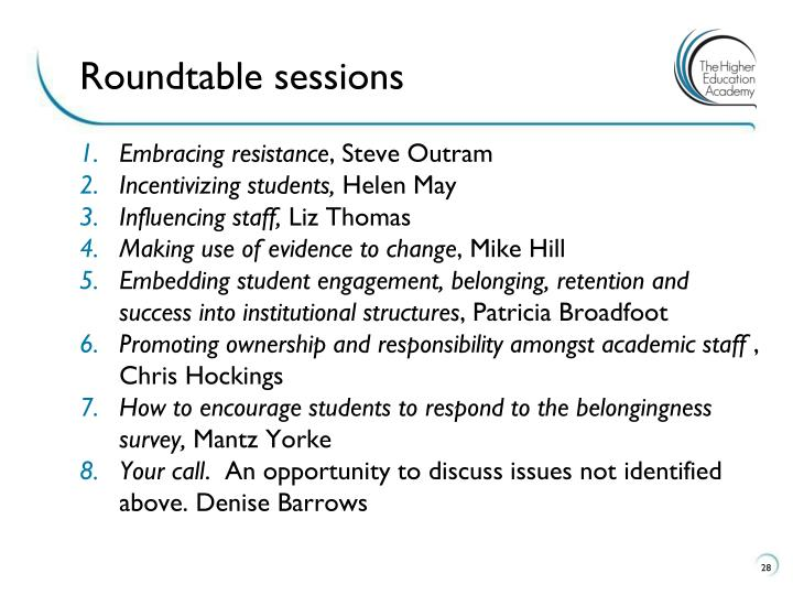 Roundtable sessions