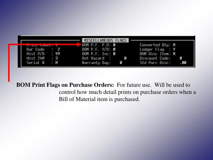 BOM Print Flags on Purchase Orders: