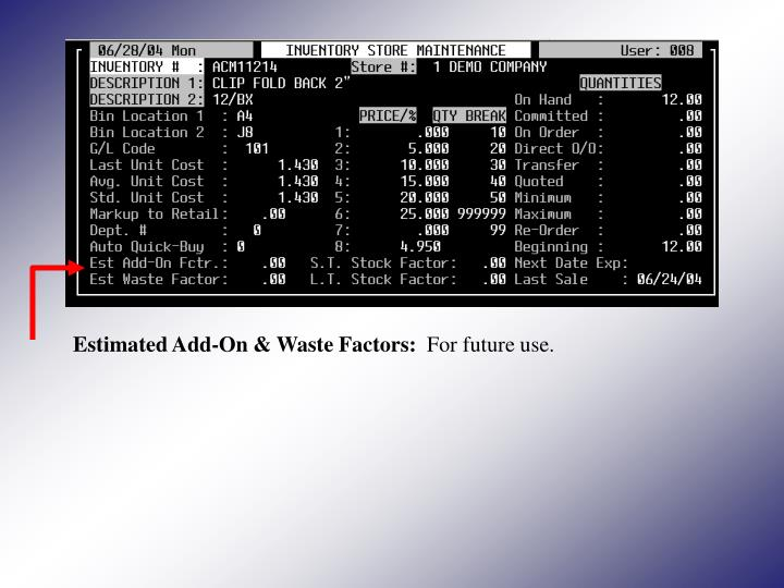 Estimated Add-On & Waste Factors: