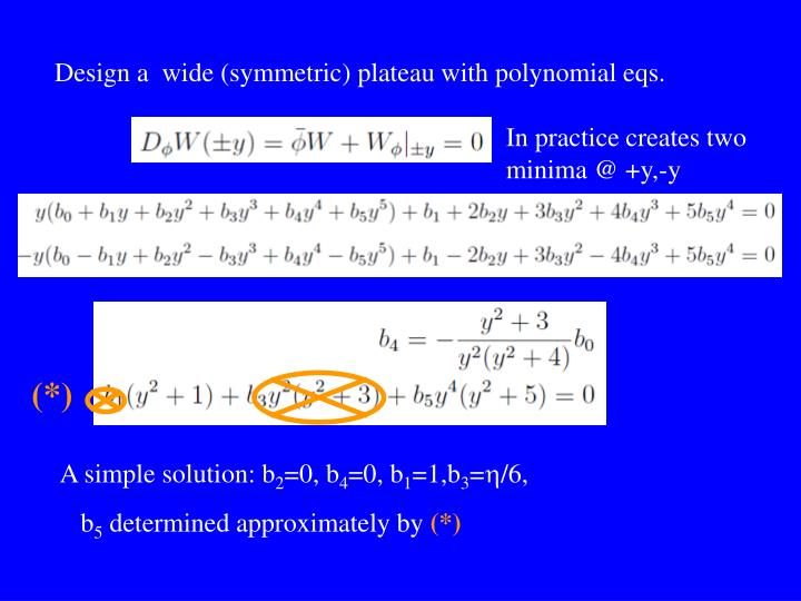 Design a  wide (symmetric) plateau with polynomial eqs.