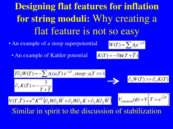 Designing flat features for inflation for string moduli: