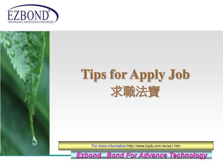 Tips for Apply Job