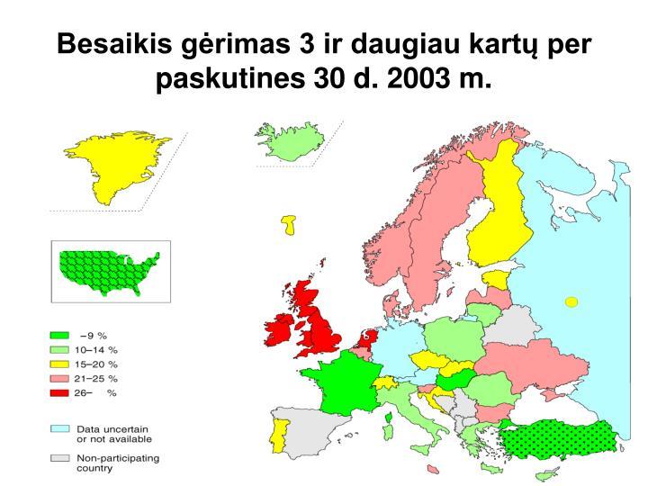 Besaikis gėrimas 3 ir daugiau kartų per paskutines 30 d. 2003 m.