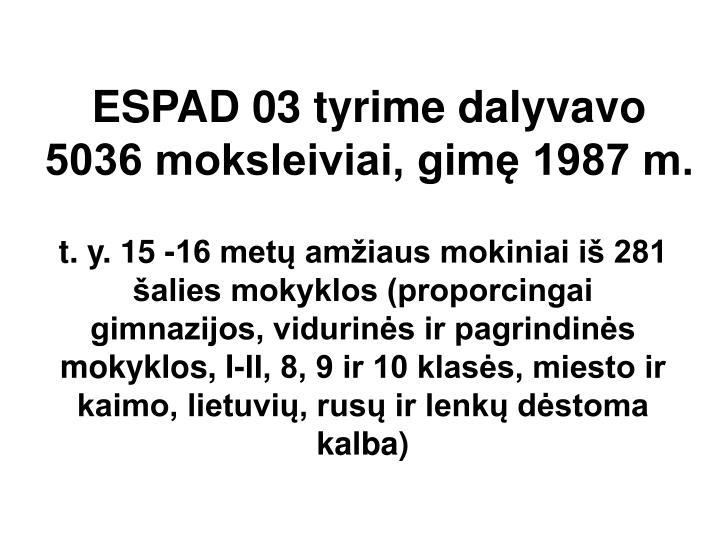 ESPAD 03 tyrime dalyvavo