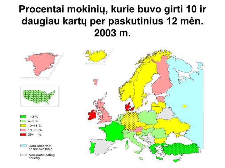 Procentai mokinių, kurie buvo girti 10 ir daugiau kartų per paskutinius 12 mėn. 2003 m.