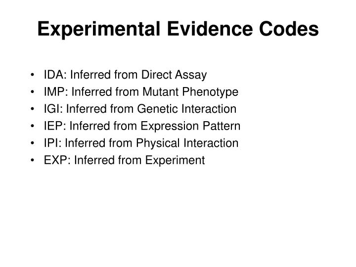 Experimental Evidence Codes