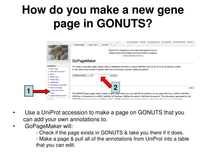How do you make a new gene page in GONUTS?