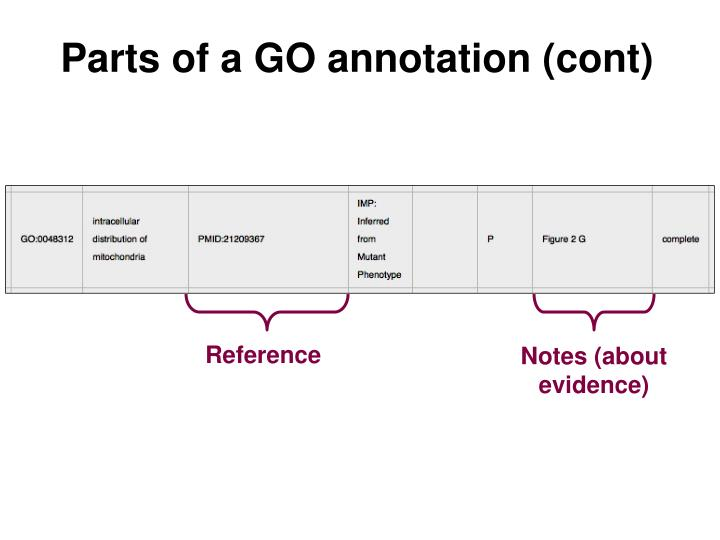Parts of a GO annotation (cont)