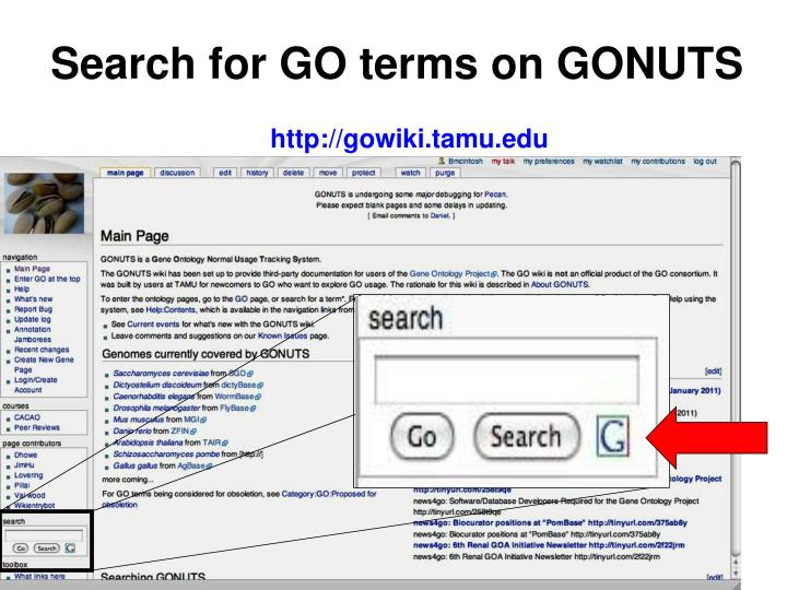 Search for GO terms on GONUTS