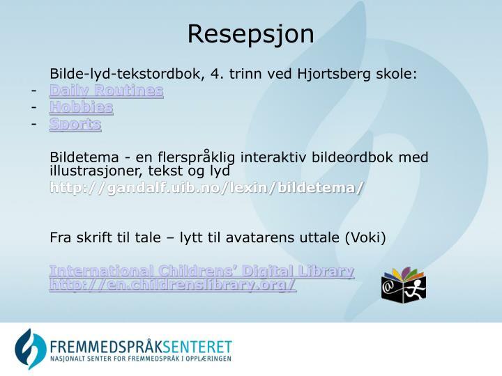 Bilde-lyd-tekstordbok, 4. trinn ved Hjortsberg skole: