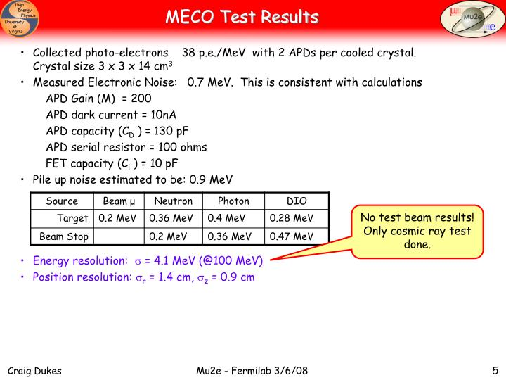 MECO Test Results
