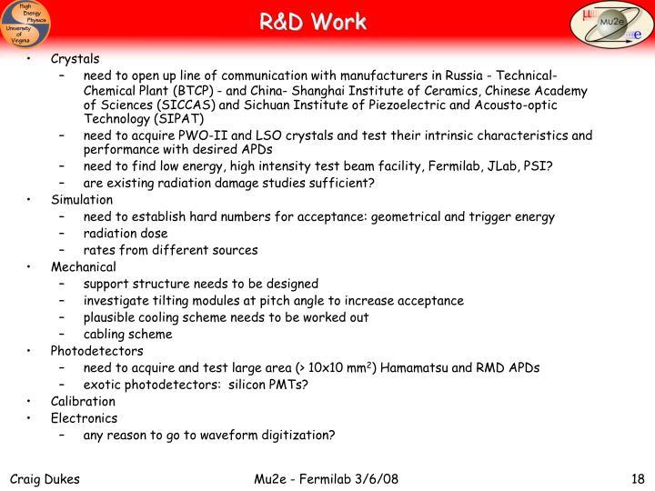 R&D Work