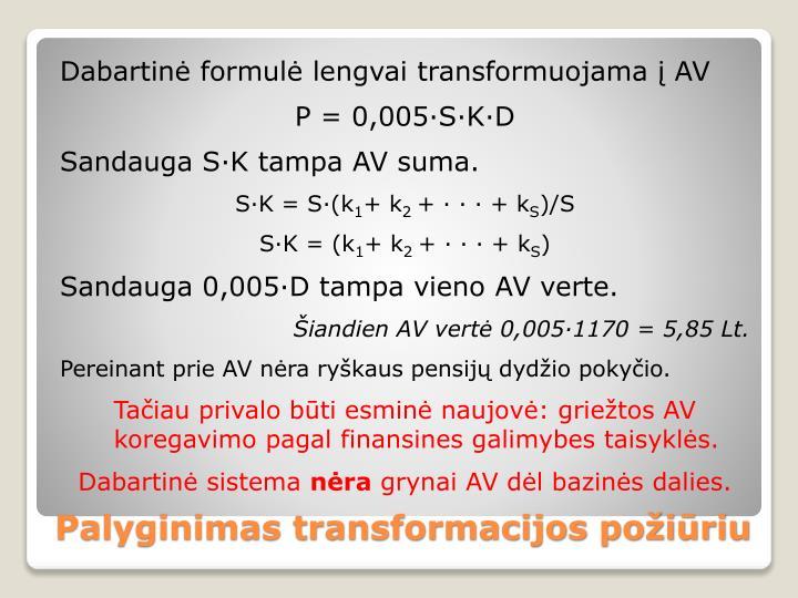 Dabartinė formulė lengvai transformuojama į AV