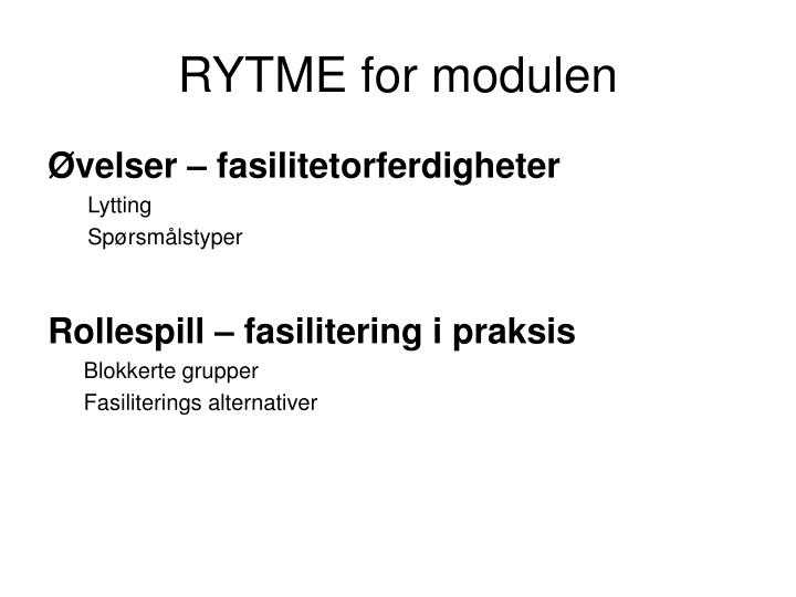 RYTME for modulen