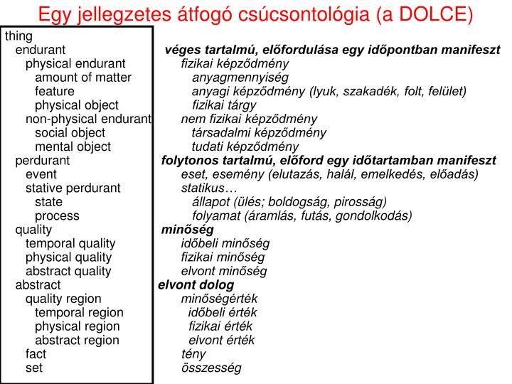 Egy jellegzetes átfogó csúcsontológia (a DOLCE)