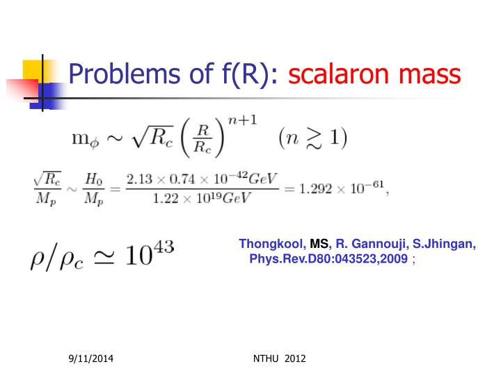Problems of f(R):