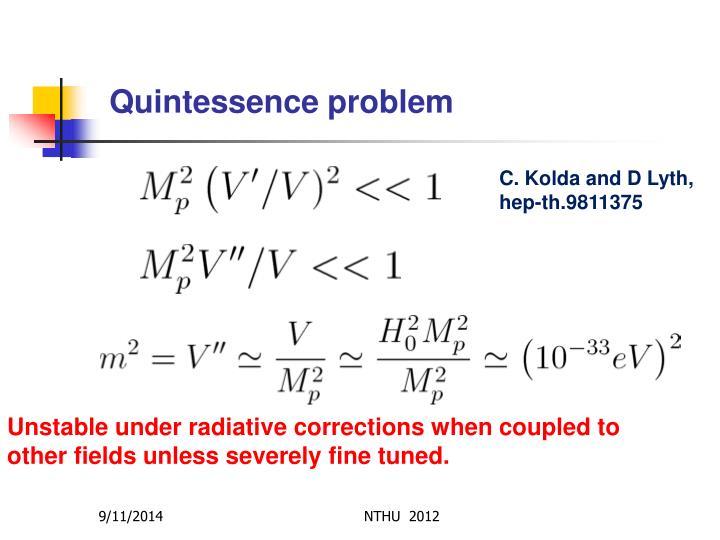 Quintessence problem