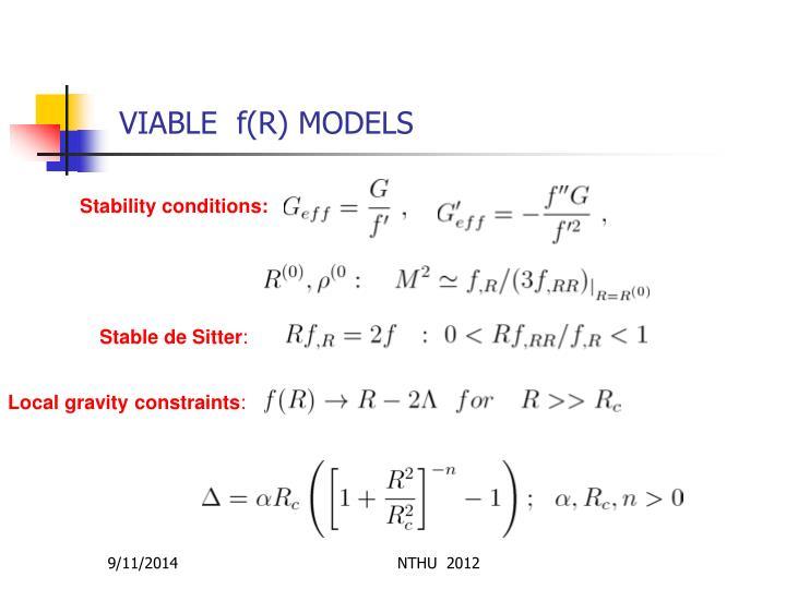 VIABLE  f(R) MODELS