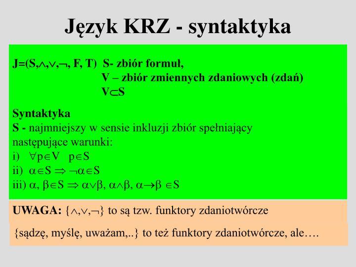Język KRZ - syntaktyka