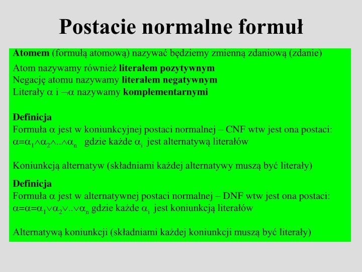 Postacie normalne formuł