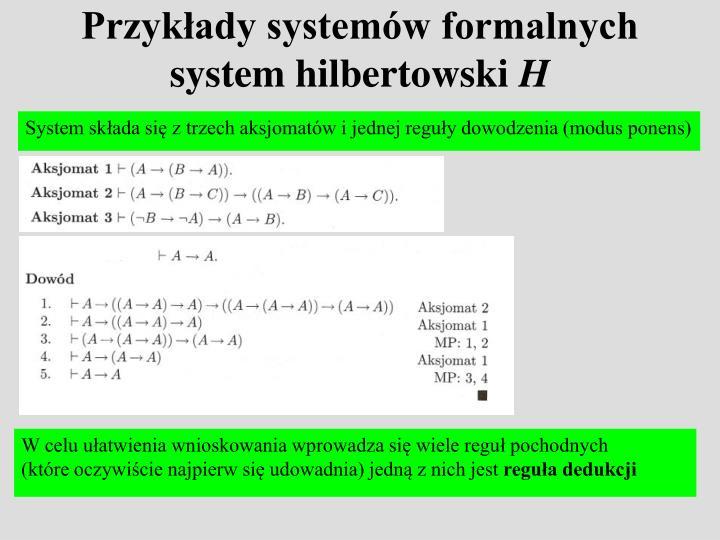 Przykłady systemów formalnych