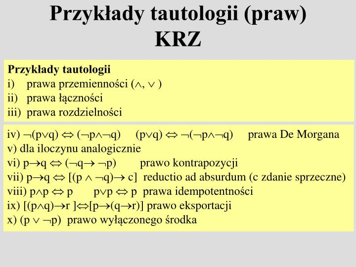 Przykłady tautologii (praw) KRZ