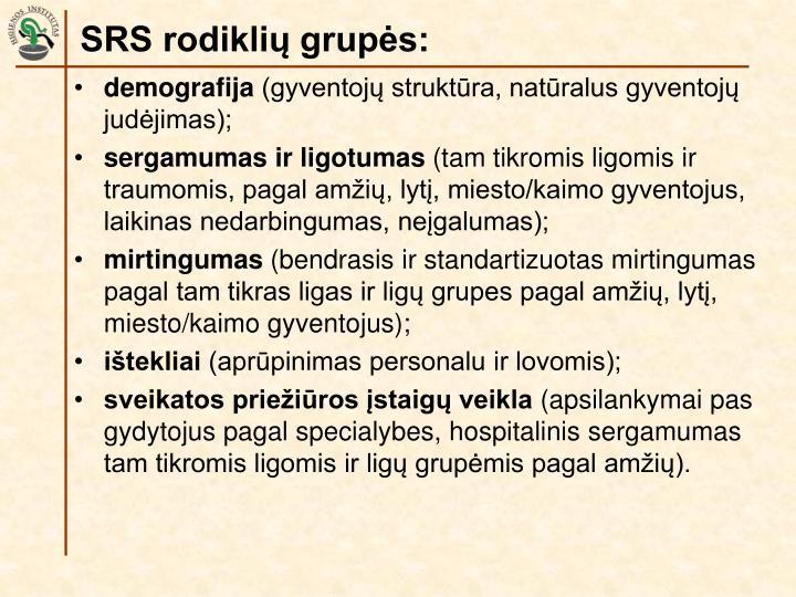 SRS rodiklių grupės: