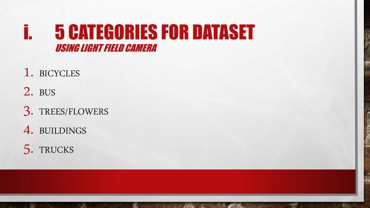 5 categories for dataset