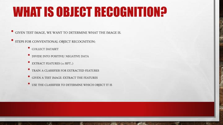 What is object recognition?