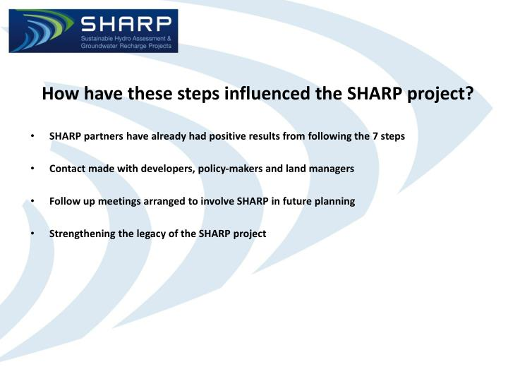 How have these steps influenced the SHARP project?