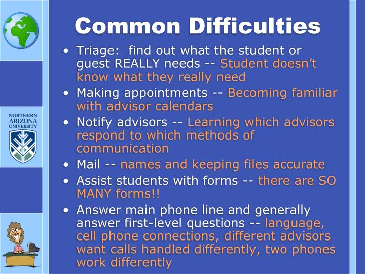 Common Difficulties