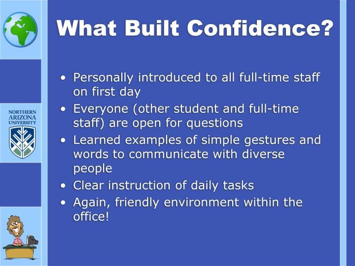 What Built Confidence?