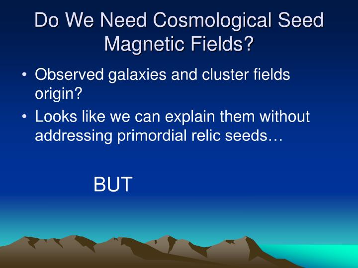 Do We Need Cosmological Seed Magnetic Fields?