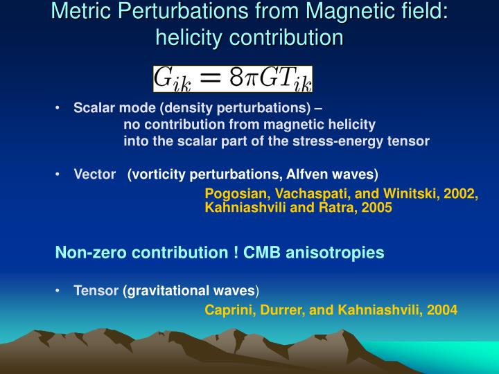 Metric Perturbations from Magnetic field: helicity contribution