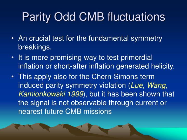 Parity Odd CMB fluctuations