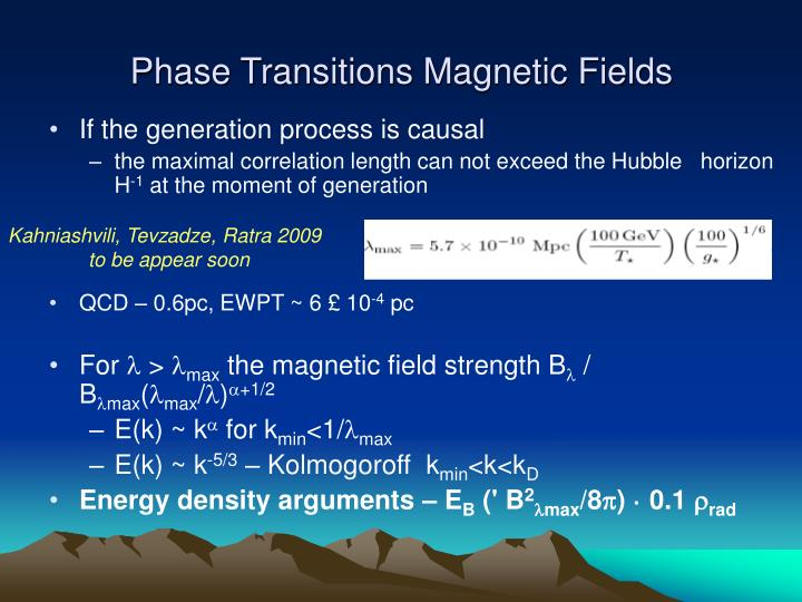 Phase Transitions Magnetic Fields